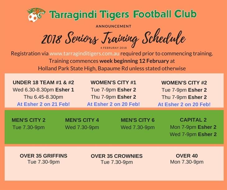 2018  Senior  Training  Schedule ( 1)